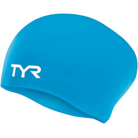 TYR Wrinkle-Free Silicone Long Hair Swimming Cap Juniors blue